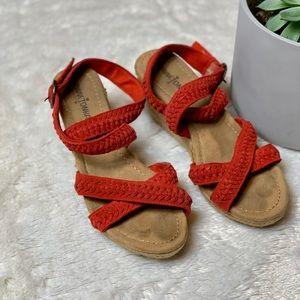 Minnetonka Red Leather Espadrille Sandals